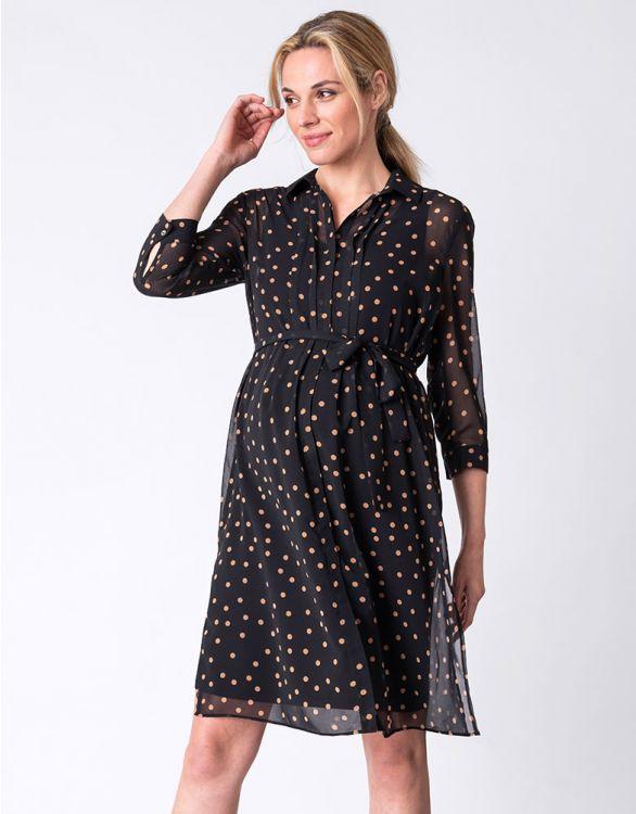 Image for Black Chiffon Maternity Shirt Dress