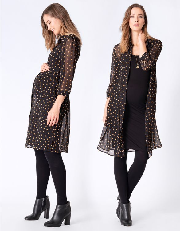 Image for Black Chiffon Maternity Shirt Dress