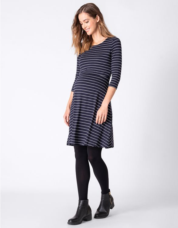 Image for Navy Striped Maternity & Nursing Dress