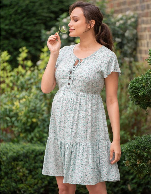 Image for Tiered Mint Maternity & Nursing Dress