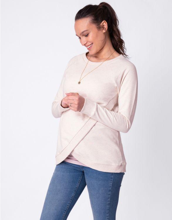 Image for Oatmeal Cotton Maternity & Nursing Sweatshirt