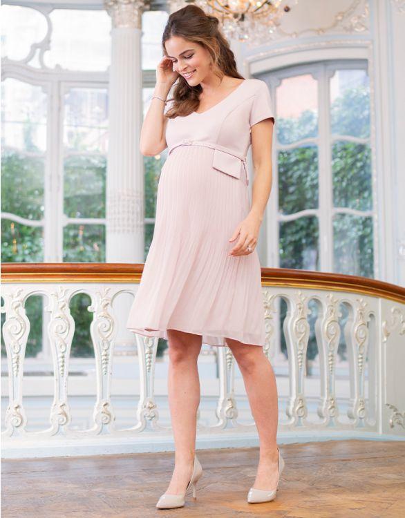 Image pour Robe grossesse plissée à manches courtes – Rose