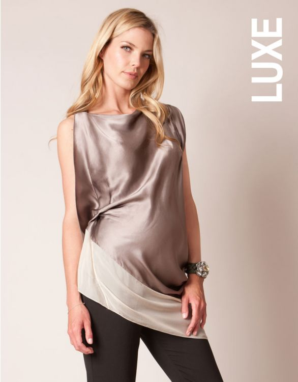 Image for Asymmetric Silk Maternity Tunic
