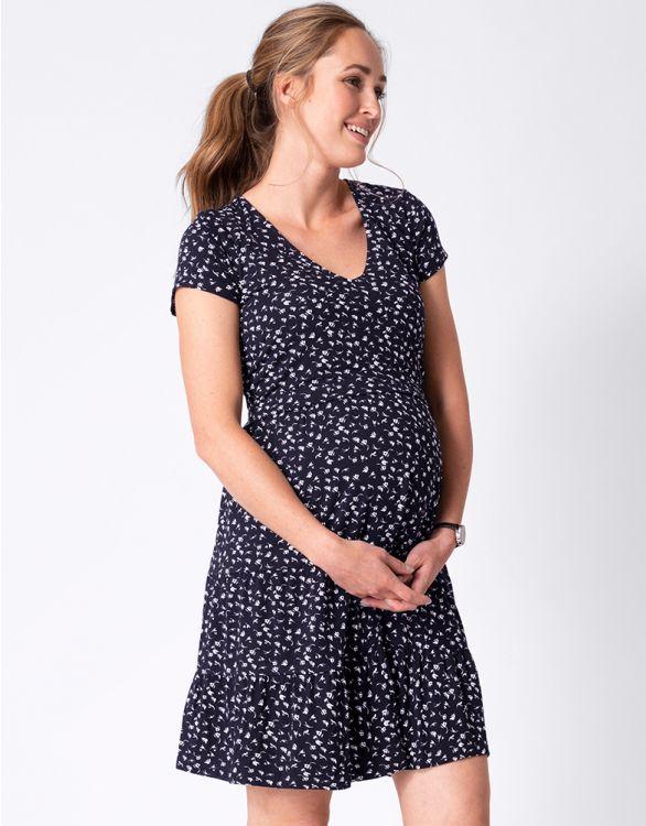 Image for Navy Floral Maternity & Nursing Dress