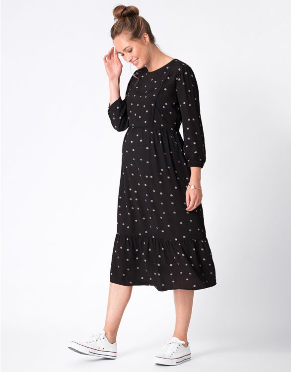 Image for Black Dot Maternity & Nursing Midi Dress
