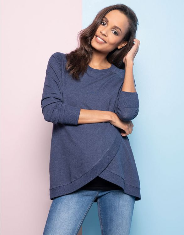 Image for Blue Cotton Blend Maternity & Nursing Sweatshirt