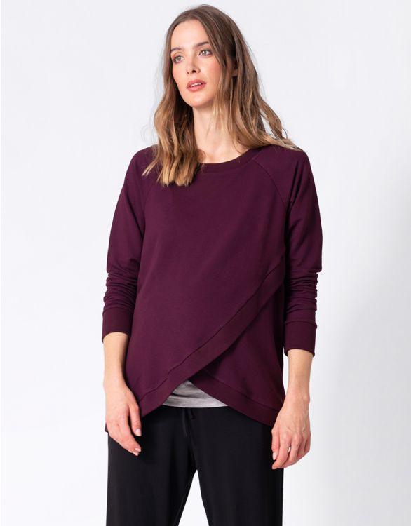 Image for Burgundy Cotton Blend Maternity & Nursing Sweatshirt