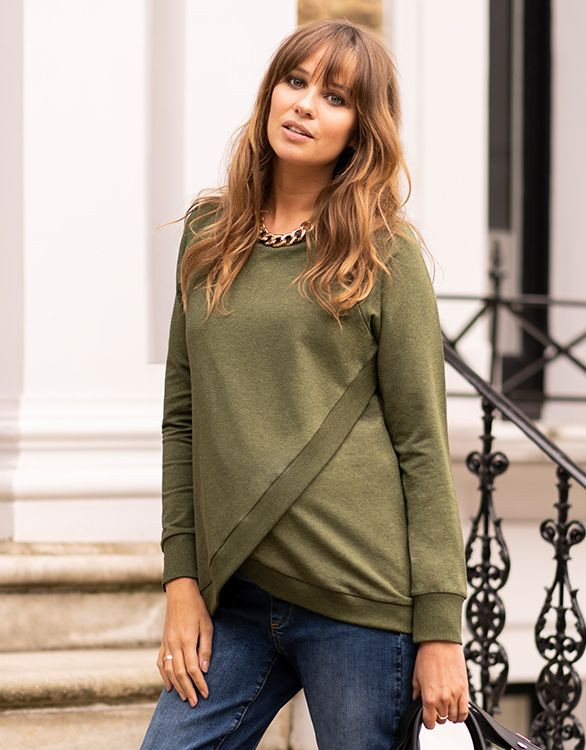 Image for Green Cotton Blend Maternity & Nursing Sweatshirt