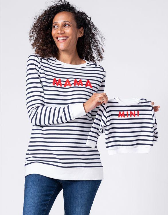 Image pour Sweats Mama et Mini en mélange de coton – Bleu marine/Blanc