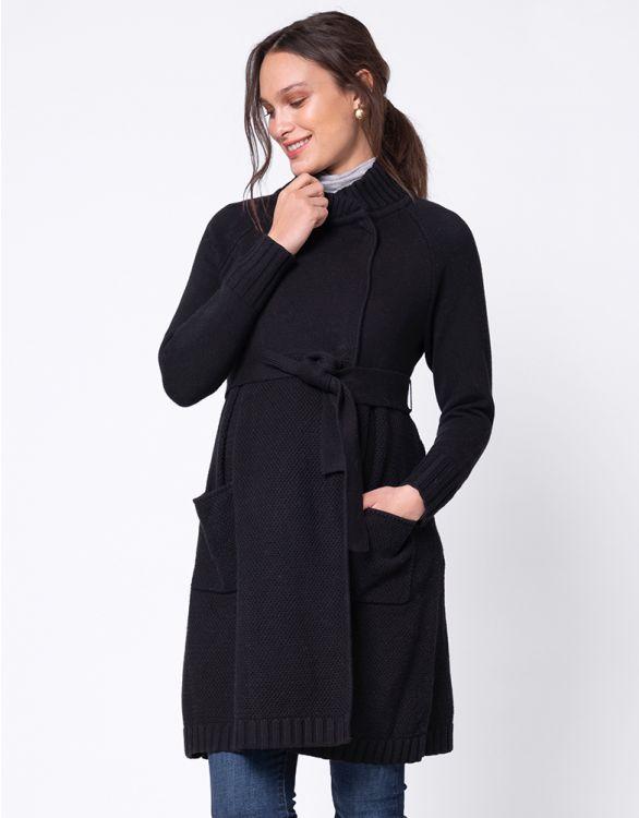 Image for Black Cotton Maternity Coatigan