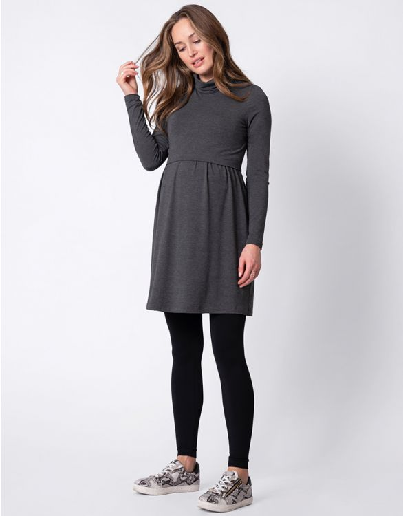Image for Grey Roll Neck Maternity & Nursing Dress