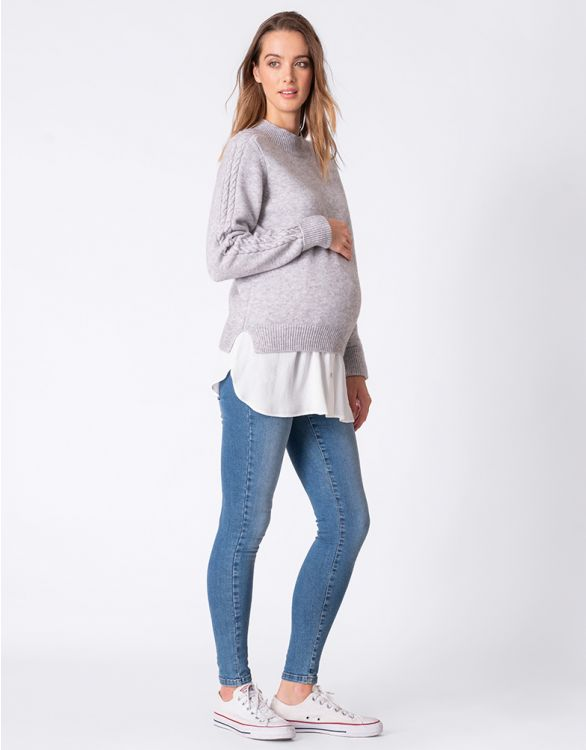 Image for Grey Knit Maternity & Nursing Tunic