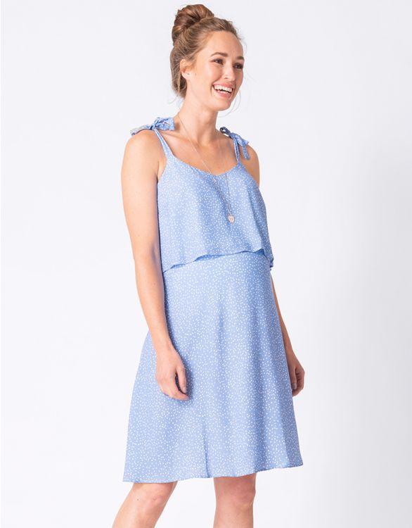 Image for Blue Polka Dot Maternity & Nursing Dress