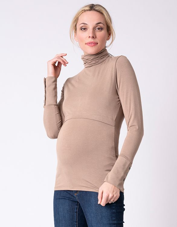 Image for Camel Bamboo Maternity & Nursing Roll Neck