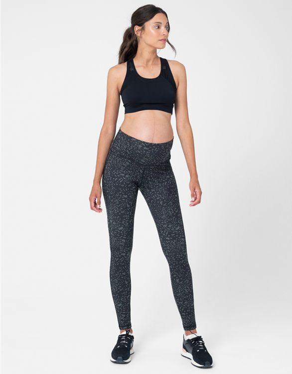 Image pour Legging grossesse 7/8 sport imprimé – Kaki/Noir