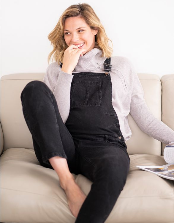 Image for Black Denim Maternity Dungarees