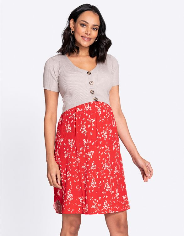 Image for Double Layer Red Maternity & Nursing Dress