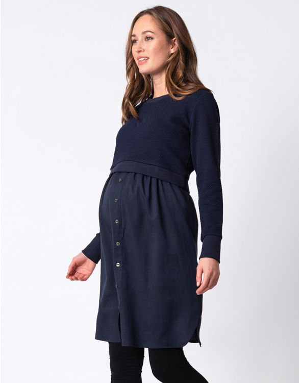 Image for Navy Blue Mock Sweater Maternity & Nursing Dress
