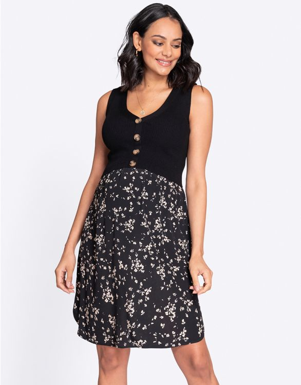 Imagen de Double Layer Black Maternity & Nursing Dress
