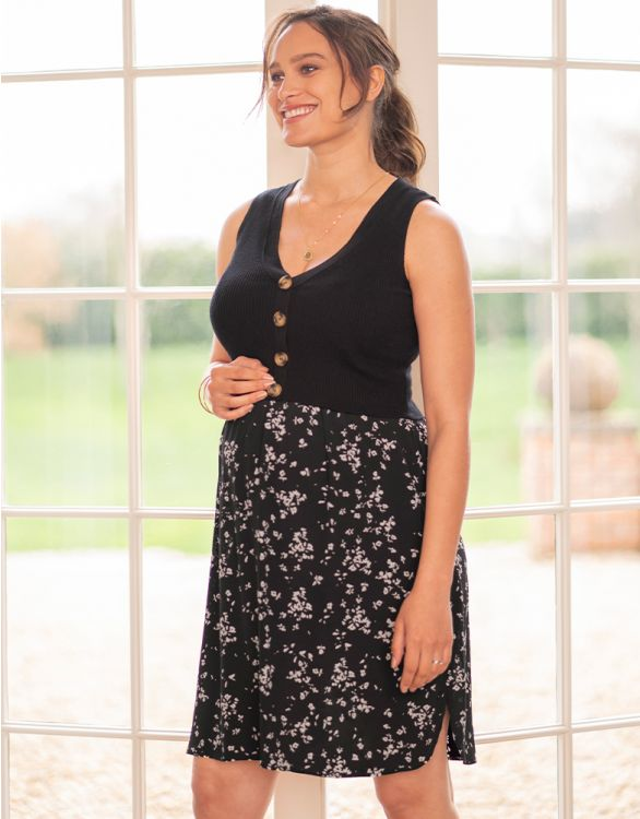 Image for Double Layer Black Maternity & Nursing Dress