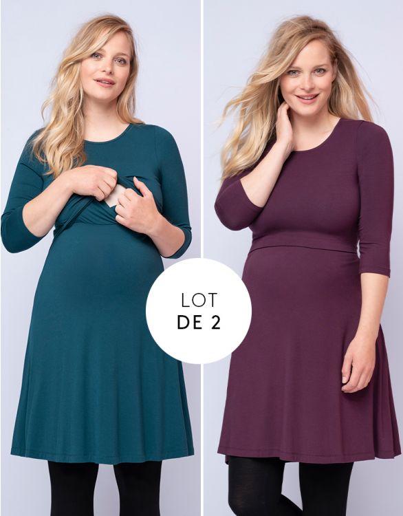 Image pour Robes grossesse et allaitement – Lot de 2, Prune/Vert foncé
