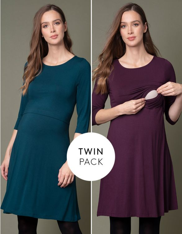 Image for Maternity & Nursing Dresses – Plum & Emerald Twin Pack