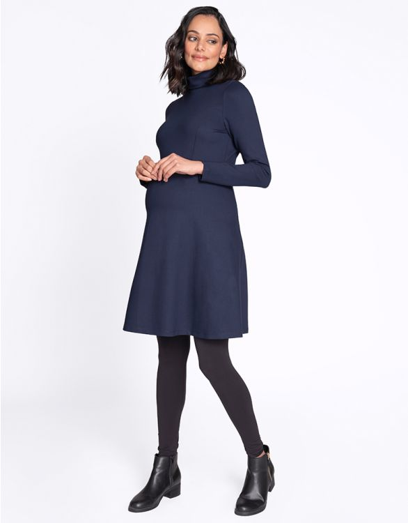Image for Turtleneck Navy Blue Maternity Dress