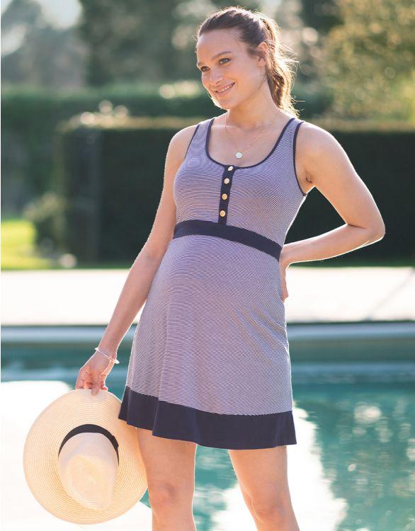 Image pour Robe grossesse et allaitement à rayures nautiques – Bleu marine