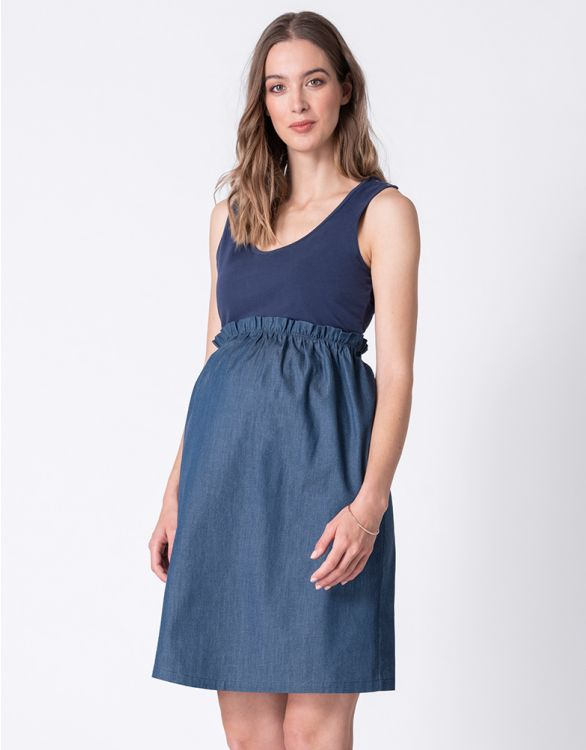 Image for Paper Bag Waist Maternity & Nursing Dress