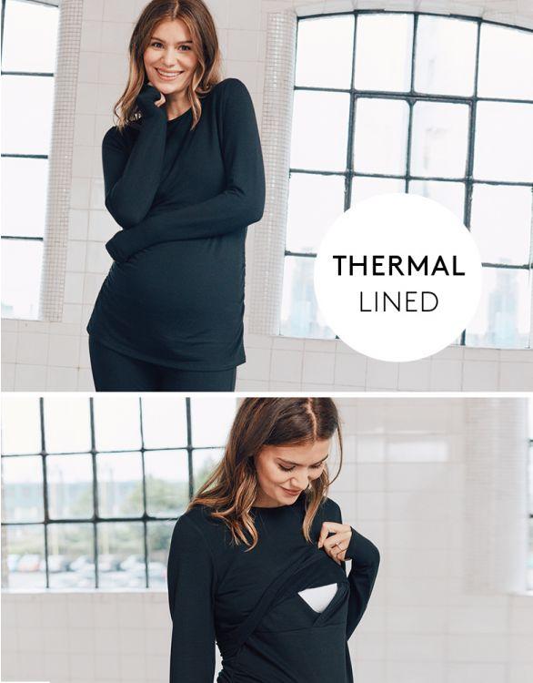 Image for Black Thermal Maternity & Nursing Top