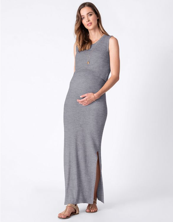 Image for Grey Ribbed Maternity & Nursing Maxi Dress
