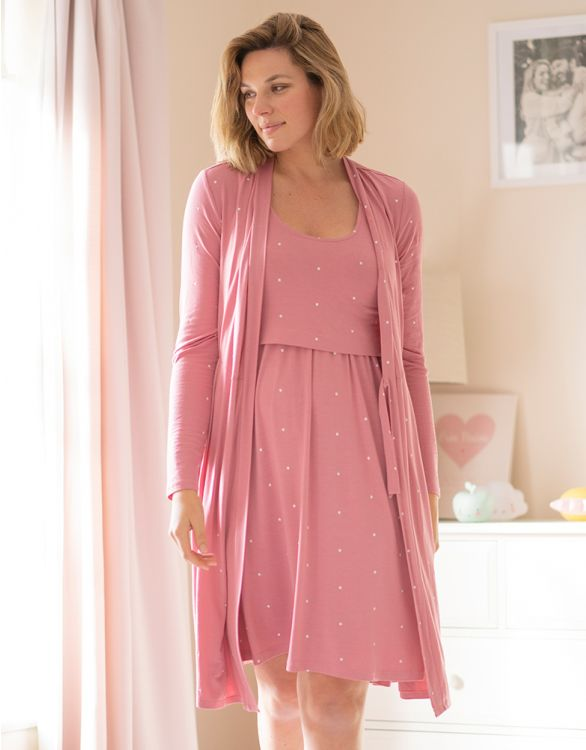 Image for Pink Maternity & Nursing Nightwear Set