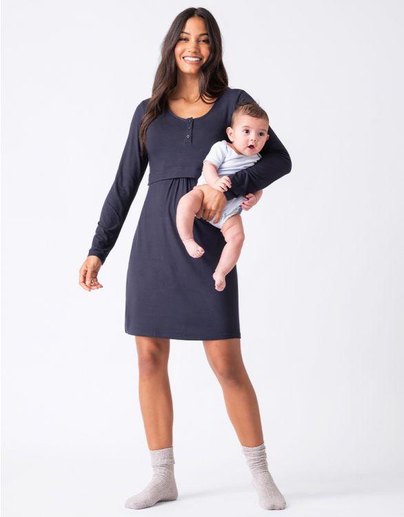 Image pour Chemise de nuit grossesse et allaitement manches longues – Bleu marine