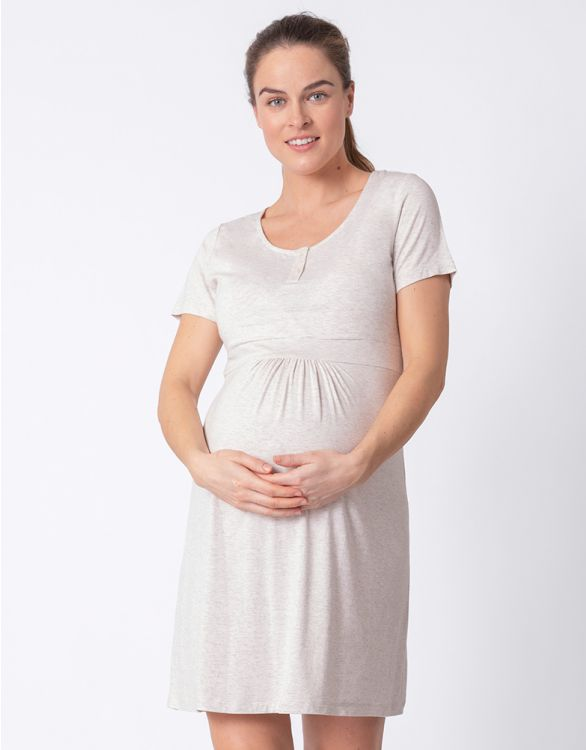 Image for Short Sleeve Maternity & Nursing Nightie