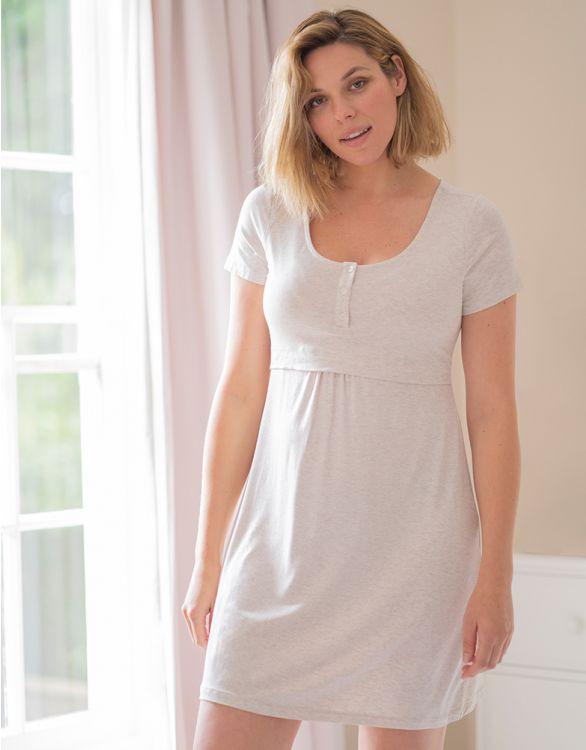 Image pour Chemise de nuit grossesse et allaitement manches courtes – Beige clair