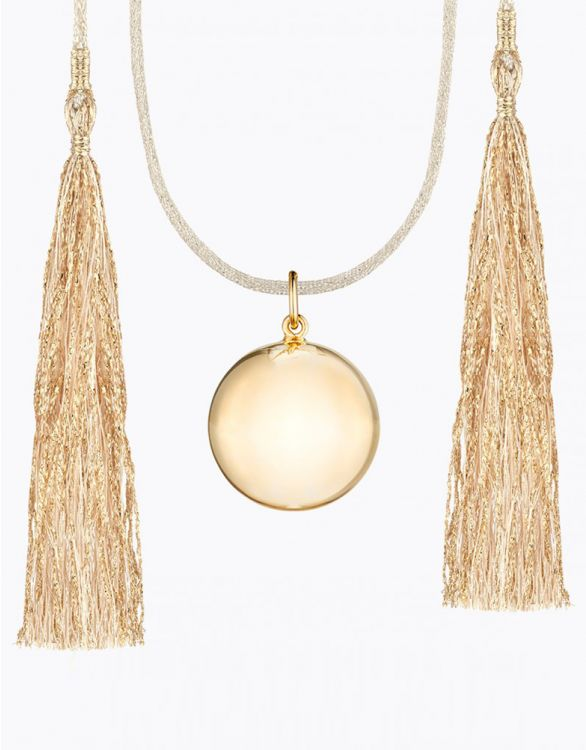 Imagen de Acapulco Maternity Necklace Yellow Gold White Cord