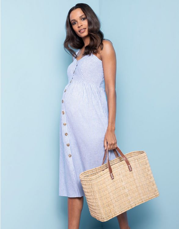 Image for Linen & Cotton Midi Maternity & Nursing Dress