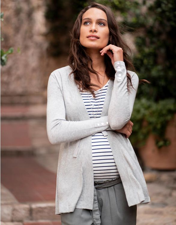 Image for Grey Cotton Blend Maternity Cardigan