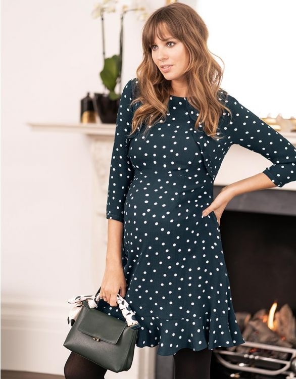 Image for Polka Dot Frill Maternity & Nursing Dress