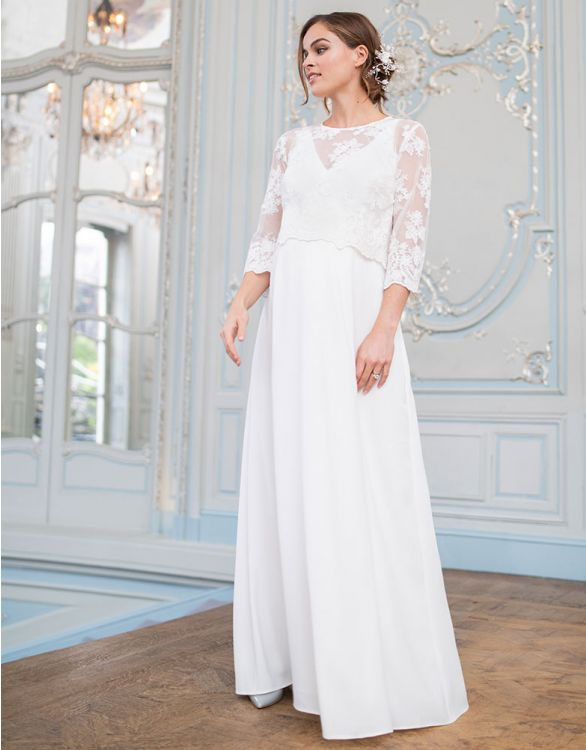 Image for Maternity Wedding Dress with Detachable Lace