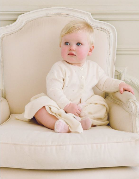 Image for Cotton Cashmere Pointelle Baby Cardigan