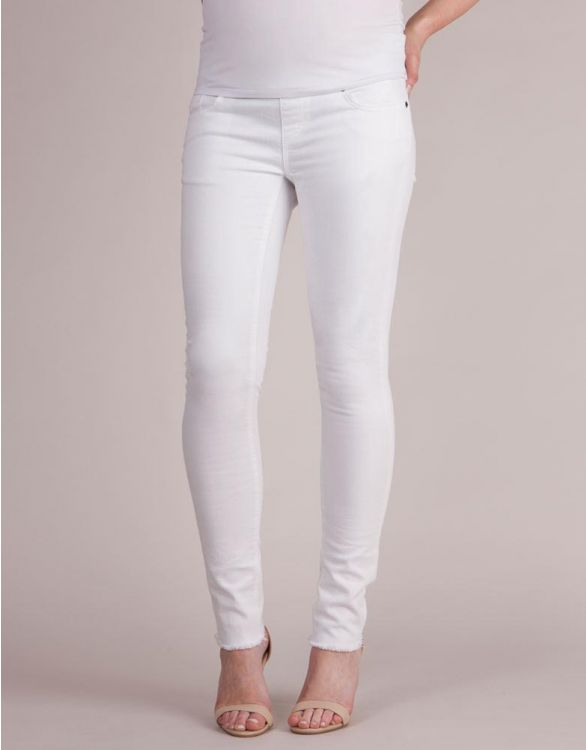 Image for Distressed Slim White Maternity Jeans