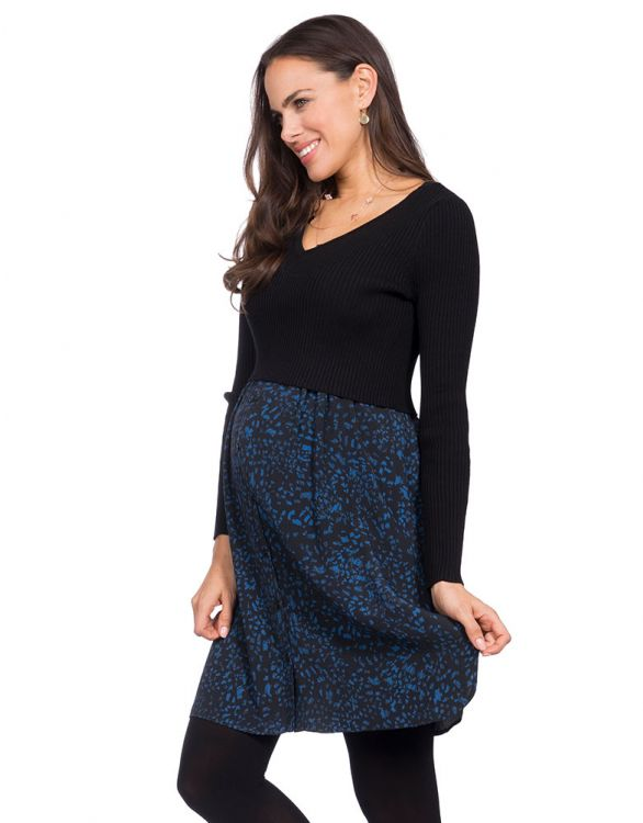 Image for Navy Blue Knitted Top Maternity & Nursing Dress