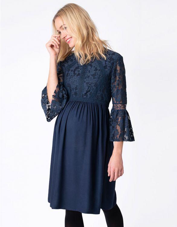 Image for Boho Lace Navy Blue Maternity Dress