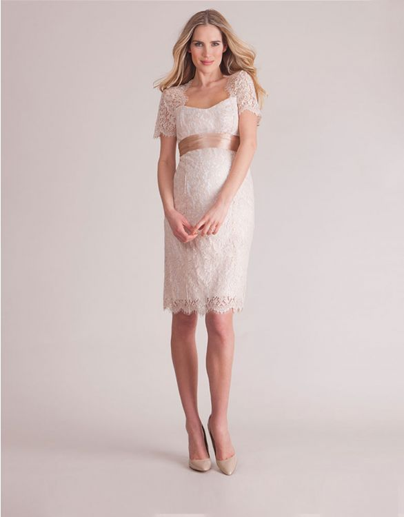 Image for Champagne Cut Out Lace Maternity Dress