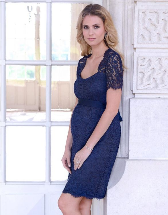 Image for Navy Blue Cut Out Lace Maternity Dress