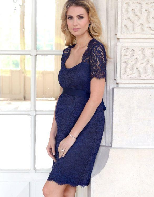 Image pour Robe grossesse en dentelle ouverte dans le dos – Bleu nuit