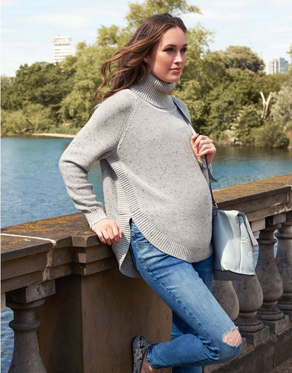 Image for Textured Knit Cape Maternity Jumper