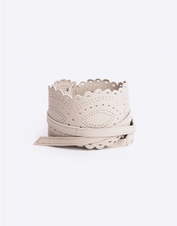 Image for Champagne Lace Cut Leather Maternity Belt