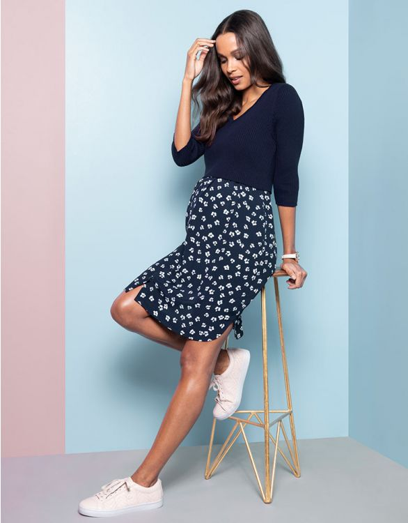 Image for Navy Floral Mock Jumper Maternity & Nursing Dress